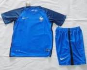 Kids France Home Soccer Jersey 2016 Euro With Shorts