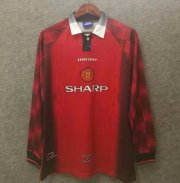 Retro Manchester United Home Long Sleeve Soccer Jerseys 1996/97