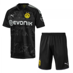 Borussia Dortmund 19/20 Away Black Soccer Jerseys Kit(Shirt+Short)
