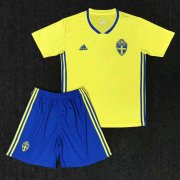 Kids Sweden Home Soccer Kit 2018 World Cup (Shirt+Shorts)