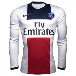 5bd17b57d 13-14 PSG Away White Long Sleeve Soccer Jersey Shirt