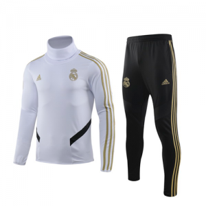 Real Madrid 19/20 White High Neck Collar Sweat Shirt Kit(Top+Trouser)