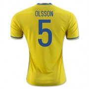 Sweden Home Soccer Jersey 2016 Olsson 5