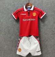 Children Retro Manchester United Home Soccer Suits 1998/99 Shirt and Shorts