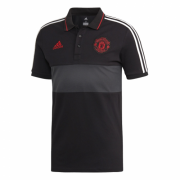 Manchester United Polo Black with White Stripe 2018/19