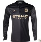 13-14 Manchester City Away Black Long Sleeve Jersey Shirt