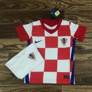 Children Croatia Home Soccer Suits 2020 EURO Shirt and Shorts