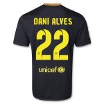 13-14 Barcelona #22 DANI ALVES Away Black Soccer Jersey Shirt