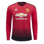 18-19 Manchester United Long Sleeve Home Soccer Jersey Shirt