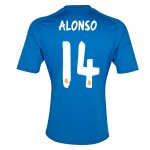 13-14 Real Madrid #14 Alonso Away Blue Soccer Jersey Shirt