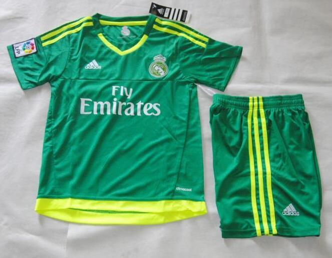 hot sales 7c9b0 53604 Kids Real Madrid Goalkeeper Kit 2015-16(Shirt+Shorts) | Real ...
