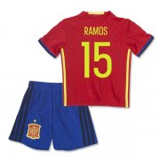 Kids Spain Euro 2016 RAMOS #15 Home Soccer Kit (Shirt+Shorts)