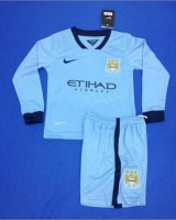 Kids Manchester City 14/15 LS Home Soccer Kit(Shirt+shorts)