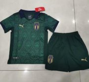Children Italy Third Away Soccer Suits 2020 EURO Shirt and Shorts