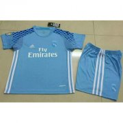 Kids Real Madrid Blue Goalkeeper Kit 16/17 (Shirt+Shorts)