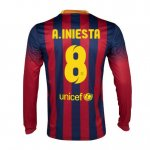 13-14 Barcelona #8 A.Iniesta Home Long Sleeve Soccer Jersey Shirt