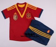 Kids 13-14 Spain Home Jersey Kit(Shorts+Shirt)