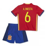 Kids Spain Euro 2016 A. INIESTA #6 Home Soccer Kit (Shirt+Shorts)