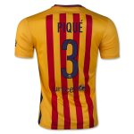 Barcelona Away Soccer Jersey Yellow 2015-16 PIQUÉ 3