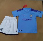 Children Manchester City Home Soccer Suits 2019/20 Shirt and Shorts