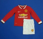 Kids Manchester United 14/15 Long Sleeve Home Soccer Kit(Shirt+Shorts)