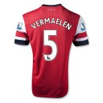 13/14 Arsenal #5 Vermael Home Red Soccer Jersey Shirt