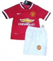 Kids Manchester United 14/15 Home Soccer Jersey Kit(Shirt+shorts)
