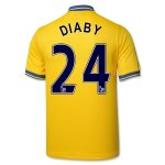 13-14 Arsenal #24 Diaby Away Yellow Jersey Shirt