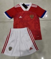 Children Russia Home Soccer Suits 2020 EURO Shirt and Shorts