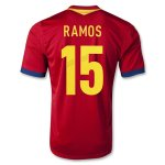 2013 Spain #15 RAMOS Red Home Soccer Jersey Shirt