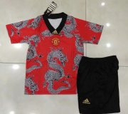 Children Manchester United Dragon Soccer Suits 2020 Shirt and Shorts