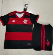 Children Flamengo Home Soccer Suits 2020/21 Shirt and Black Shorts