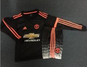 Kids Manchester United Third Long Sleeve Kits 2015-16 (Shirt+Shorts)