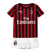 19-20 AC Milan Home Black&Red Children's Jerseys Kit(Shirt+Short)