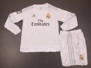 Kids Real Madrid Home Long Sleeve Kit 2015-16(Shirt+Shorts)