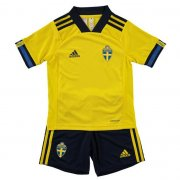 Children Sweden Home Soccer Suits 2020 EURO Shirt and Shorts