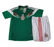 Kids 2014 World Cup Mexico Home Whole Kit(Shirt+Shorts)