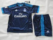 Kids Real Madrid Blue Soccer Kit 2015-16(Shirt+Shorts)