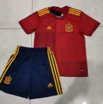 Children Spain Home Soccer Suits 2020 EURO Shirt and Shorts