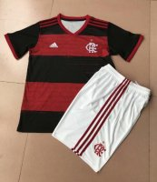 Children Flamengo Home Soccer Suits 2020/21 Shirt and White Shorts