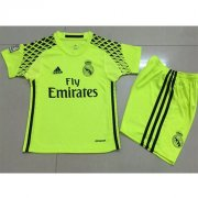 Kids Real Madrid Green Goalkeeper Kit 16/17 (Shirt+Shorts)